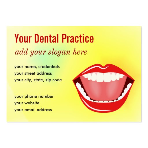 Big Mouth Gold Professional Dental Business Cards