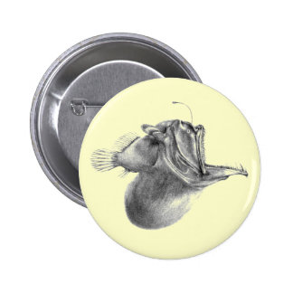 Big mouth gulper angler fish pencil drawing button