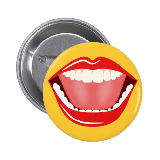 Big Mouth Humor Laughing Funny Round Buttons