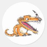 Big-Mouth Orange Monster Classic Round Sticker