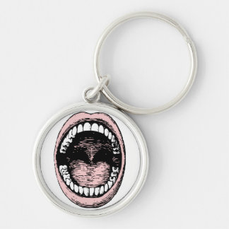 Big Mouth Silver-Colored Round Keychain
