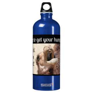 Big Mouthed Camel, time to get your hump on! blue Aluminum Water Bottle