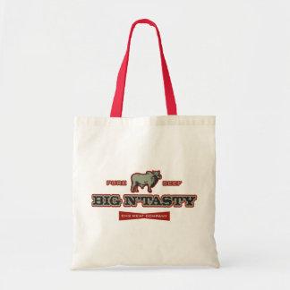 Big N' Tasty Humorous Bull Graphic Tote Bag