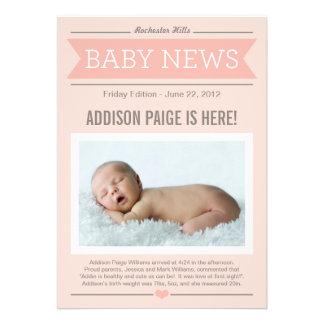 Big News Birth Announcement Baby Girl