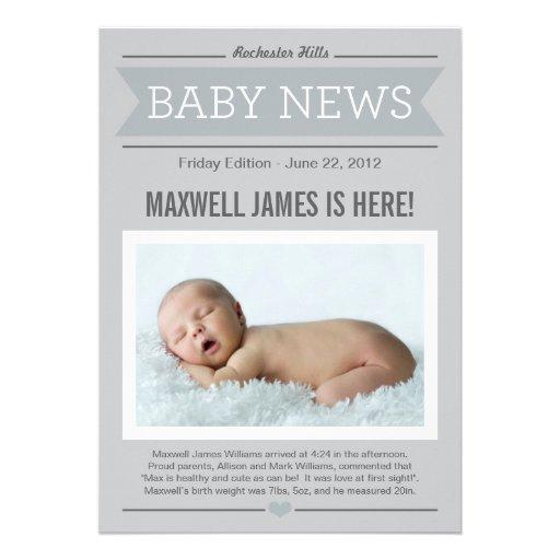 Big News Birth Announcement | Gray & Charcoal