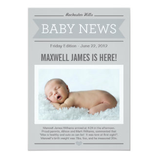 "Big News Birth Announcement | Gray & Charcoal 5"" X 7"" Invitation Card"