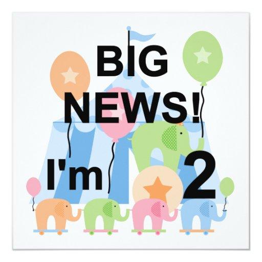 Big News Circus 2nd Birthday T-shirts and Gifts Invitation