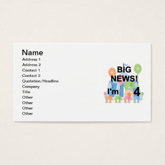 Big News Circus 4th Birthday T shirts and Gifts Business Card