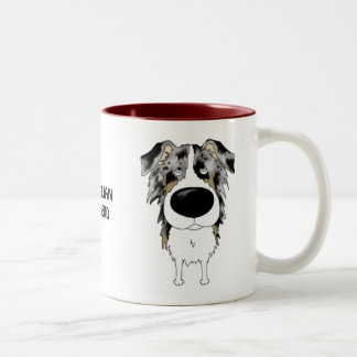 Big Nose Australian Shepherd Two-Tone Coffee Mug