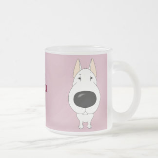 Big Nose Bull Terrier Frosted Glass Coffee Mug