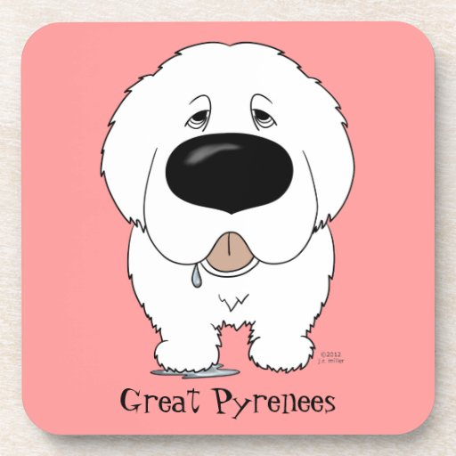 Big Nose Great Pyrenees Drink Coasters