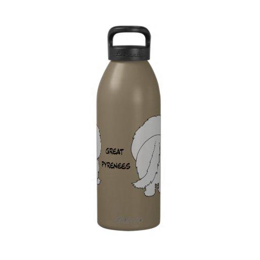 Big Nose Great Pyrenees Water Bottles