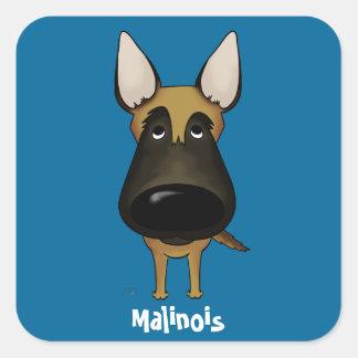 Big Nose Malinois Square Sticker