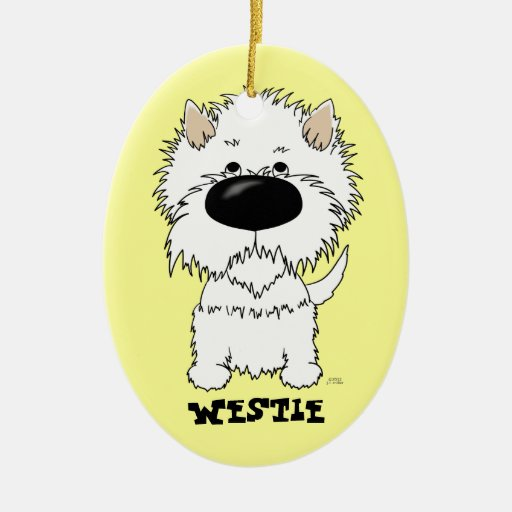 Big Nose Westie Double-Sided Oval Ceramic Christmas Ornament