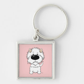Big Nose Westie Silver-Colored Square Keychain