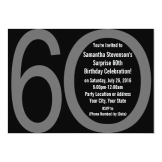 Big Numbers 6-0 60th Birthday Party Invitations