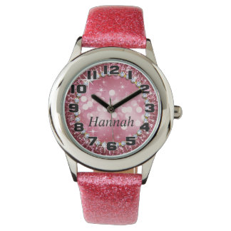 Big Numbers Glitz Glam Bling Glitter Pink Watch