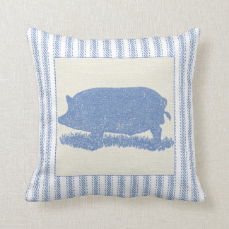 Big Old Hog with Ticking Throw Pillows