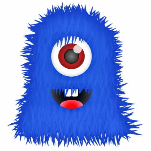 1 Eyed Cartoon Characters : Big one eyed blue fuzzy monster standing photo sculpture