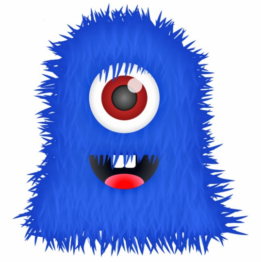 BIG one-eyed blue fuzzy monster Statuette