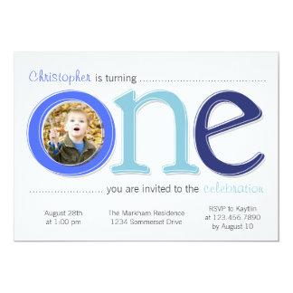 Big One with Photo Cutout Birthday Card - Blue