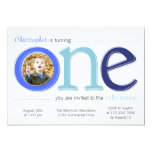 Big One with Photo Cutout Birthday Card - Blue Personalized Invite