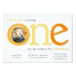 Big One with Photo Cutout Birthday Card - Orange Invitations