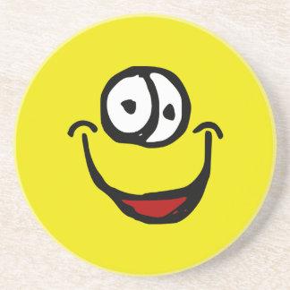 big open mouth cartoon smile face drink coaster
