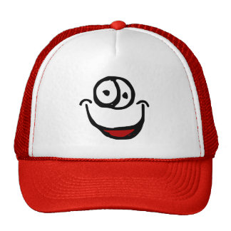 big open mouth cartoon smile face trucker hat