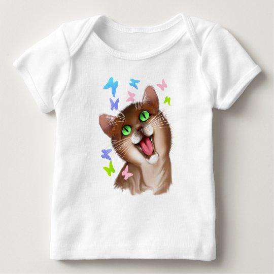 Big Orange Cat and Soft Butterflies Baby T-Shirt