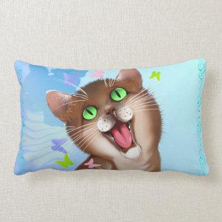Big Orange Cat and Soft Butterflies Lumbar Pillow