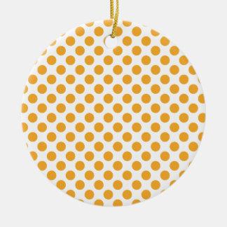 Big Orange Dots on White Christmas Tree Ornament