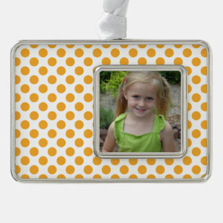 Big Orange Dots on White Silver Plated Framed Ornament