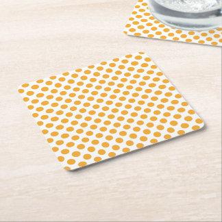 Big Orange Dots on White Square Paper Coaster