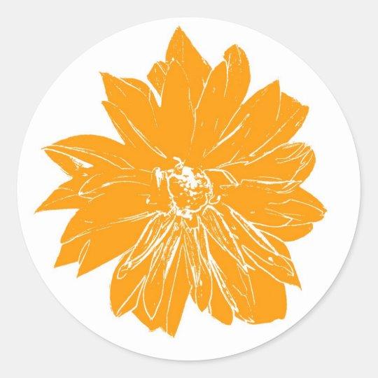 Big orange flower classic round sticker