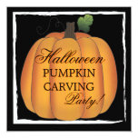 Big Orange Halloween Pumpkin Carving Party Custom Announcements