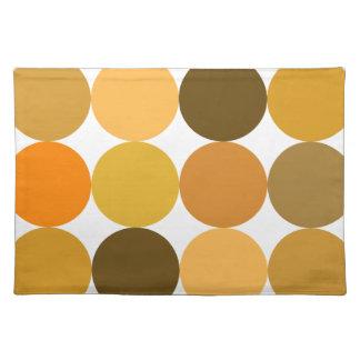 Big Orange Polka Dots Cloth Placemat