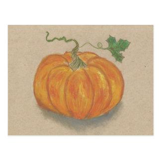 Big Orange Pumpkin Still Life Oil Pastel Postcard