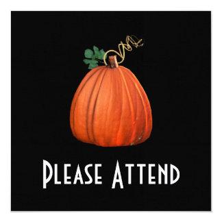 Big Orange Whimsical Pumpkin 5.25x5.25 Square Paper Invitation Card