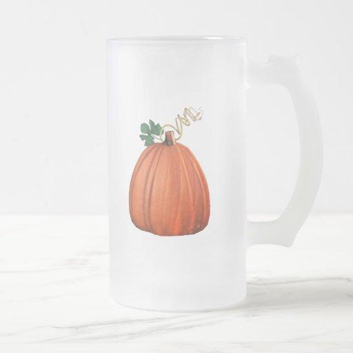 Big Orange Whimsical Pumpkin 16 Oz Frosted Glass Beer Mug