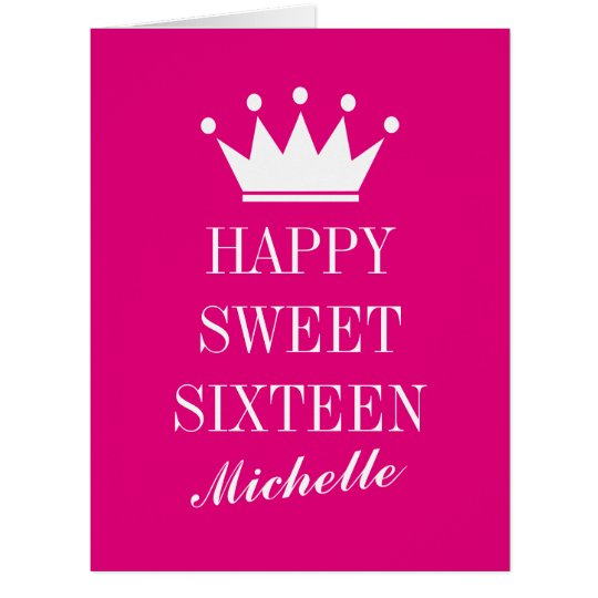 Big Oversized Sweet 16 Birthday Card With Crown