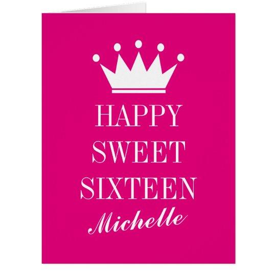 Big Oversized Sweet 16 Birthday Card With Crown Zazzle