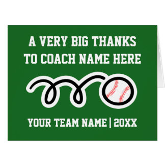 Big oversized Thank You card for baseball coach