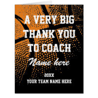 Oversized Thank You Card For Basketball Coach