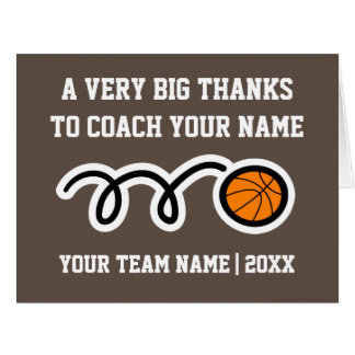 Big oversized Thank You card for basketball coach
