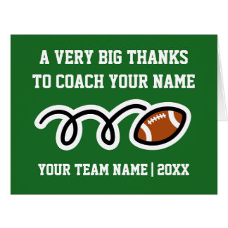 Big oversized Thank You card for football coach
