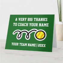 Big oversized Thank You card for softball coach