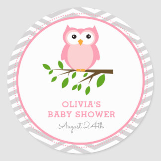 Big Owl Pink and Grey Round Favor Tag