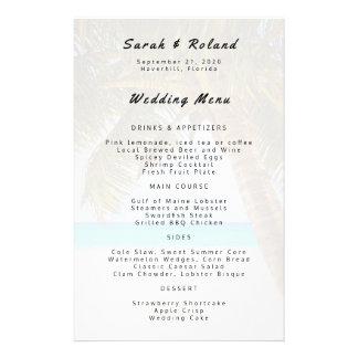 Big Palm Tree Beach Wedding Custom Menu