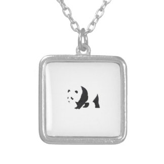 Big panda bear silver plated necklace